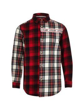 Rood Geruit Overhemd Met 'atelier' Print Voor Jongens by River Island