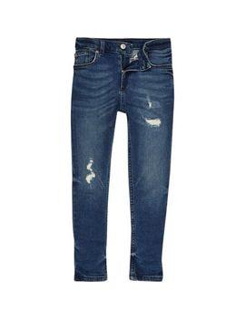 Sid Middenblauwe Distressed Skinny Jeans Voor Jongens by River Island