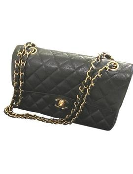Flap Quilted Small Classic Black Caviar Leather Shoulder Bag by Chanel
