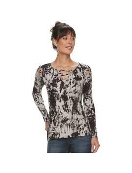 Women's Rock & Republic® Lattice Shoulder Tee by Rock & Republic