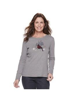 Women's Croft & Barrow® Holiday Long Sleeve Top by Croft & Barrow