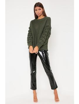 Khaki Knitted Bubble Sleeve Jumper by I Saw It First