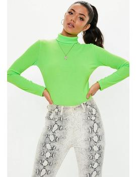 Neon Green Ribbed Roll Neck Top by Missguided