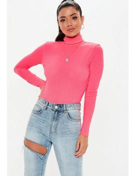 Neon Pink Ribbed Roll Neck Top by Missguided