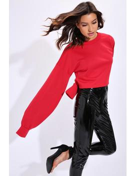 Red Raw Edge Balloon Sleeve Jumper by I Saw It First