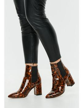 Tan Tortoise Shell Patent Pointed Boots by Missguided