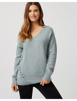 Bouclé Lace Up Tunic Sweater by Le Chateau