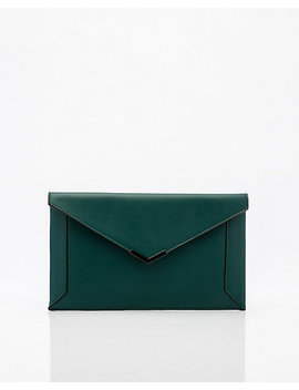 Leather Like Flapover Envelope Clutch by Le Chateau