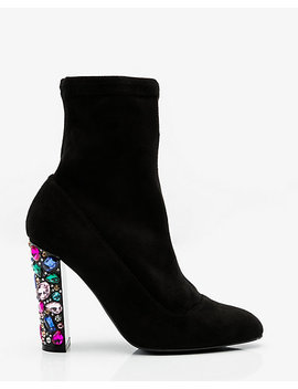 Jewel Embellished Block Heel Sock Boot by Le Chateau