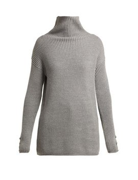 Roll Neck Ribbed Knit Wool Sweater by Max Mara