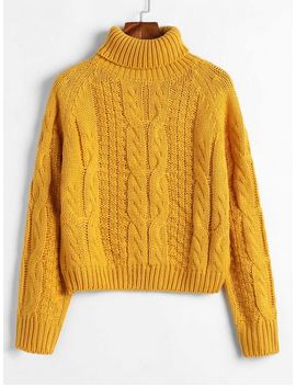 Zaful Turtleneck Cropped Cable Knit Sweater   Bee Yellow S by Zaful