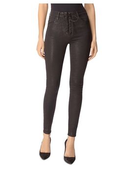 Lace Up Ultra Skinny Jeans In Coated Vendetta by J Brand