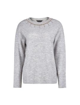 Grey Embellished Neck Jumper by Dorothy Perkins