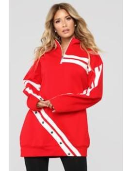 Mvp Tunic Sweatshirt   Red by Fashion Nova