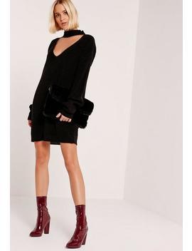 Black Choker Neck Mini Sweater Dress by Missguided