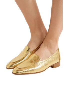 Metallic Snake Effect Leather Loafers by The Row