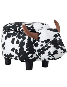 Merax Upholstered Cow Animal Storage Ottoman Footrest Stool by Merax
