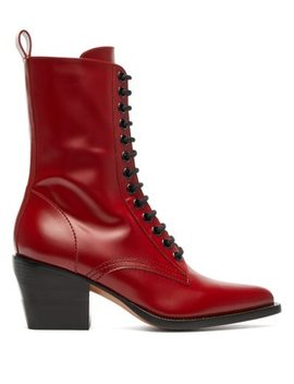 Point Toe Lace Up Leather Boots by Chloé