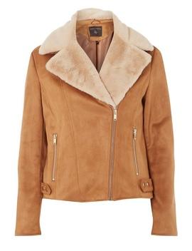 Tan Suedette Faux Fur Biker Jacket by Dorothy Perkins
