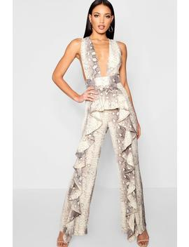 Snakeskin Ruffle Pinafore Jumpsuit by Boohoo