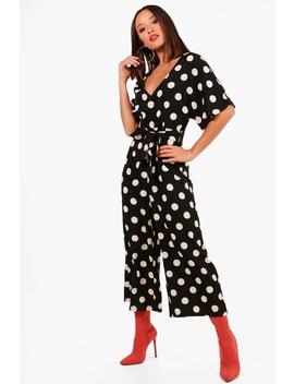 Polka Dot Capped Sleeve Culotte Jumpsuit by Boohoo