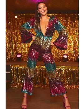 Rainbow Zig Zag Sequin Stripe Jumpsuit by Boohoo