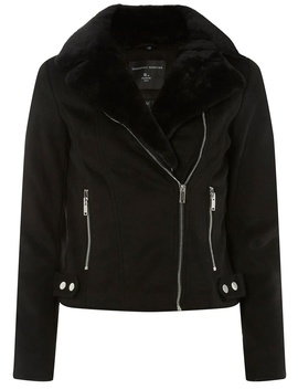 Black Suedette Faux Fur Biker Jacket by Dorothy Perkins