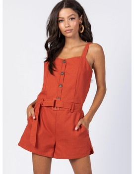 March On Playsuit Burnt Orange by Princess Polly