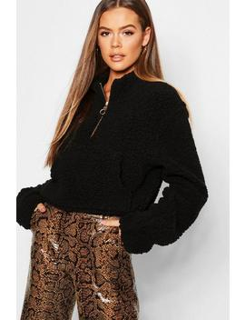 Teddy Fur 1/2 Zip High Neck Sweat by Boohoo