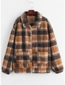 Zaful Zip Up Fluffy Plaid Teddy Winter Coat   Coffee S by Zaful
