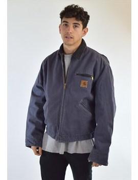 Vintage 90s Navy Blue Carhartt Collared Workwear Jacket by Carhartt