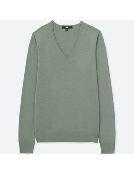 Women Extra Fine Merino V Neck Long Sleeve Sweater by Uniqlo