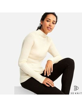 Women 3 D Extra Fine Merino Ribbed Mock Neck Sweater by Uniqlo