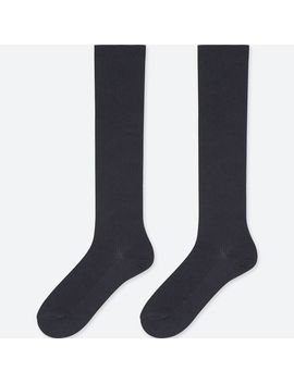 Women Heattech High Socks 2 Pairs (Rib) by Uniqlo