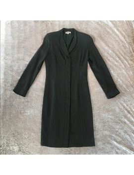 Armani Collezioni Long Blue Grass Dress Coat by Armani Collezioni
