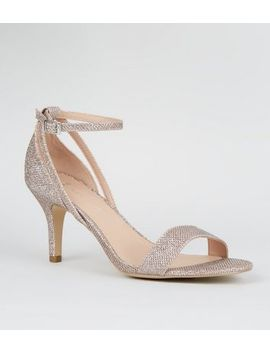 Wide Fit Rose Gold Glitter Covered Stiletto Heels by New Look