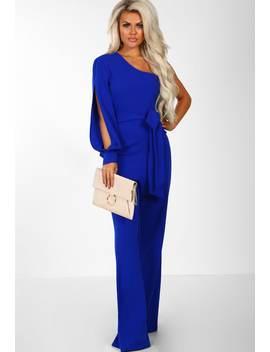 Dark Side Cobalt Blue One Shoulder Wide Leg Jumpsuit by Pink Boutique