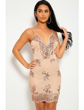 Sexy Beige Gold Sequin V Cut Sleeveless Bodycon Party Dress by Ami Clubwear