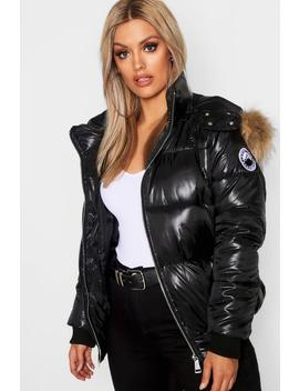 Plus Faux Fur Trim Line Puffer Jacket by Boohoo