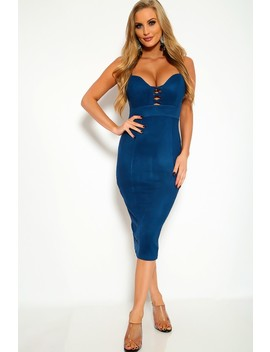 Sexy Navy Faux Suede Dress by Ami Clubwear