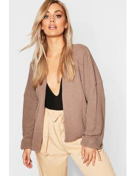 Plus Oversized Rib Crop Cardigan by Boohoo