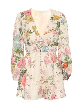 Heathers Floral Linen Playsuit by Zimmermann