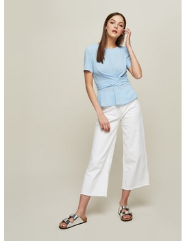 Blue Twist Tie Back Blouse by Miss Selfridge
