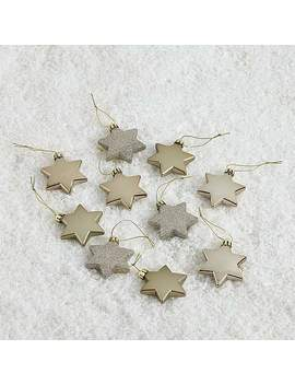 Pack Of 10 Gold Star Tree Decorations by Dunelm