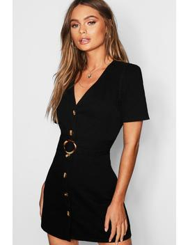 Mock Horn Button Belted Denim Dress by Boohoo