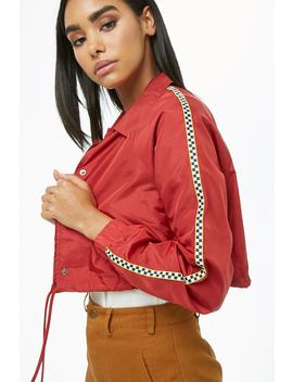 Checkered Trim Cropped Coach Jacket by Forever 21