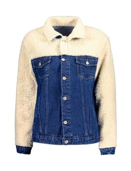 Teddy Yolk And Sleeve Denim Trucker Jacket by Boohoo