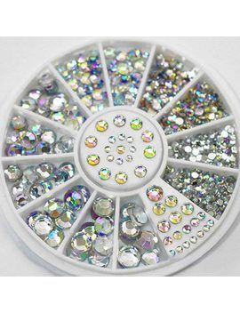 Diy Nail Art Wheel Tips Crystal Glitter Rhinestone 3 D Nail Art Decoration White Ab Color Acrylic Diamond Drill by Manzilin