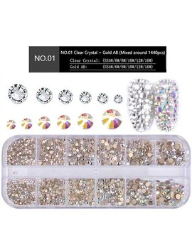 1 Box Multi Size Glass Nail Rhinestones Mixed Colors Flat Back Ab Crystal Strass 3 D Charm Gems Diy Manicure Nail Art Decorations by Misscheering