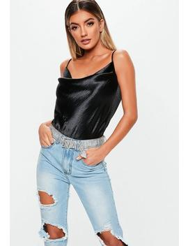 Black Satin Cowl Neck Tie Back Bodysuit by Missguided
